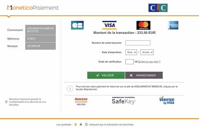 Page de paiement sécurisée Monetico-CIC